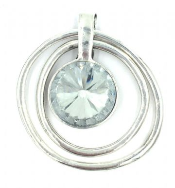 BIG Silver plated pendant - Crystal double ring - diameter 5.5cm